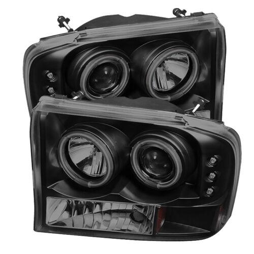 99-04 F250 F350 SuperDuty Excursion CCFL Black Smoke Halo Projector Headlights