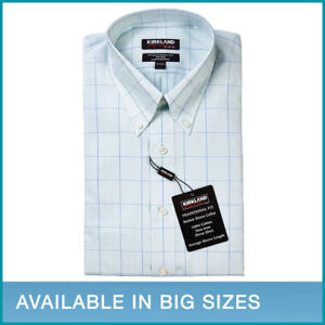 Kirkland-Signature-Wrinkle-Free-Button-Down-Dress-Shirt-Green-Navy-Check