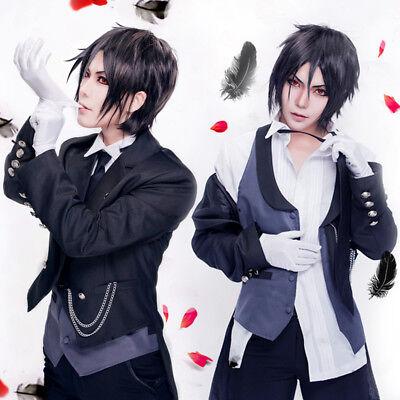 Black Butler Kuroshitsuji Sebastian Cosplay Costume free Wig