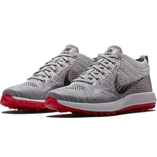 76c1cfb8204c NEW Nike Flyknit Racer G Golf Shoes SIZE 10.5 - 909756-002 Gray Black Red