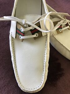 388b8538435 Image is loading Excellent-RARE-Size-45-White-Soft-Leather-Gucci-