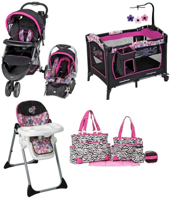 Baby Trend Girls Pink Stroller Combo Set Infant Travel System Chair Bag Car Seat