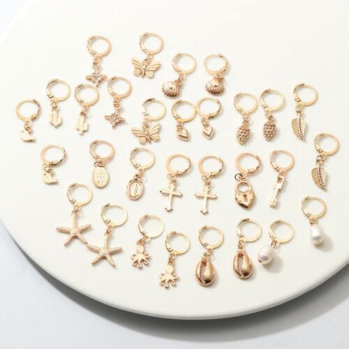 Women Boho Fashion Jewelry Shell Starfish Cross Pendant Golden Hoop Earrring