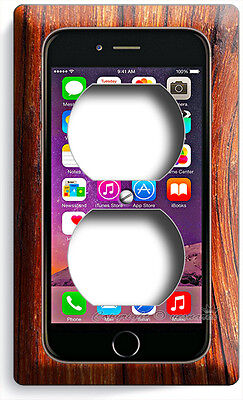 IPHONE 6 6S SCREEN APPLE PHONE ELECTRIC POWER 2 OUTLET WALL PLATE COVER PLUS +