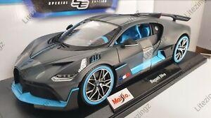 1-18-Maisto-escala-Bugatti-Divo-Gris-y-Azul-Diecast-Modelo-Coche