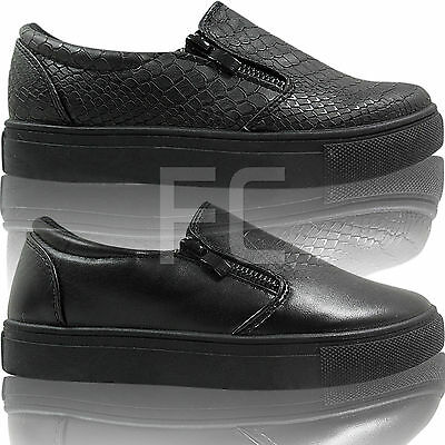 Kids Girls Ladies Flat Slip On Work School Skater Pumps Plimsolls Shoes Size New Moderater Preis
