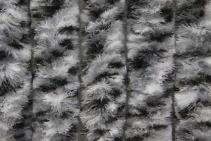 Flauschvorhang-Tuervorhang-100x200cm-Fliegenschutz-Chenille-grau-weiss-Explorer