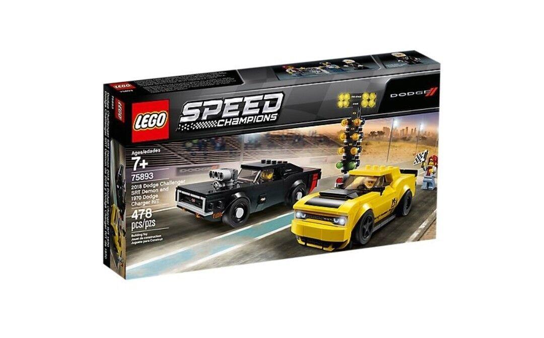 Lego Speed Champions 75893 2018 Dodge Challenger SRT Demon & 1970 Dodge Charger