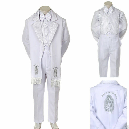Baby Boy Christening Baptism//scarf Suit//6 pcs// Size S to 7/>Silver Virgin Marry
