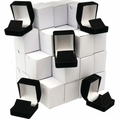36 Earring Gift Boxes Black Velvet Flocked Jewelry Box