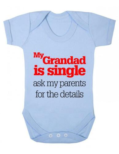 "Baby Bodysuit Baby Bodysuit Funny /"" My Grandad is Single/"" Baby Grow Fun"