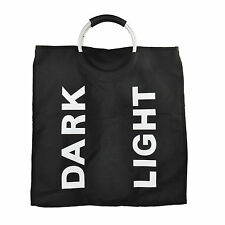 Black Folding Laundry Washing Clothes Bin Hamper Basket Sorter Bag with Handles