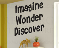 Wall Decal Quote Sticker Vinyl Art Lettering Mural Imagine, Wonder, Discover I15