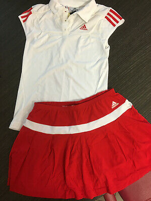 Adidas Completo Tennis Bianco E Rosso Climacool Polo E Gonna 10 Anni
