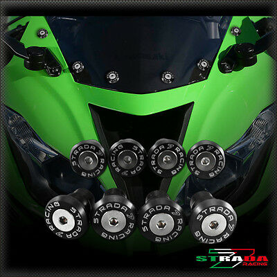 Strada 7 Racing CNC Windscreen Bolts M5 Wellnuts Set Black For Ducati 848 //EVO