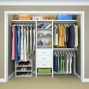 Details About Closetmaid White Standard Reach Walk In Closet Wall Cabinet Organizer Shelves