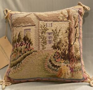 """Katha Diddel Home Collection Handmade Needlepoint Pillow 10""""x10"""" with Tag"""