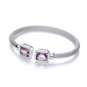 J-JAZ-Malin-Amethyst-Emerald-Cut-Sterling-Silver-Mesh-Bracelet-Bangle