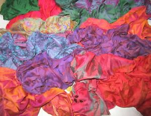 CA-LOT-PURE-SILK-Vintage-Sari-REMNANT-Fabrics-100-GRAMS-Changes-Color-ABCWP