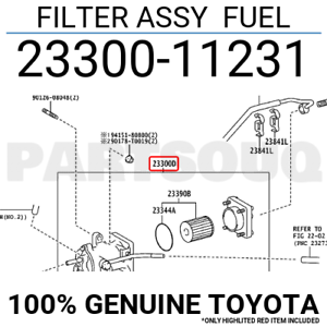 FUEL 23300-31140 2330031140 Genuine Toyota FILTER ASSY