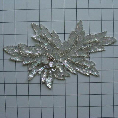 CRYSTAL IRIS SILVER DESIGNER SEQUIN BEADED APPLIQUE 2715-R