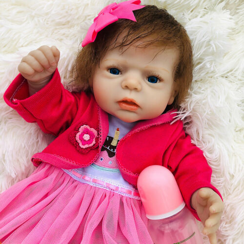 22in Full Body Real Touch Silicone Vinyl Waterproof Reborn Baby Doll Newborn Toy
