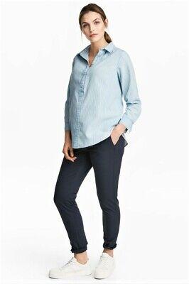 Bello Women's Maternità Pantaloni Chino By H&m In Blu Scuro, Taglia 8, Nuovo Con Etichette-mostra Il Titolo Originale Profitto Piccolo