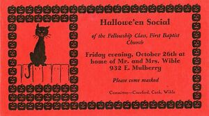 ANTIQUE HALLOWEEN INVITATION BLACK CAT PUMPKINS OLANTERN KOKOMO IN STAMP 1928