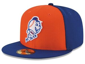 New York Mets Black Blue Orange On-Field Performance New Era 59Fifty Fitted Hat