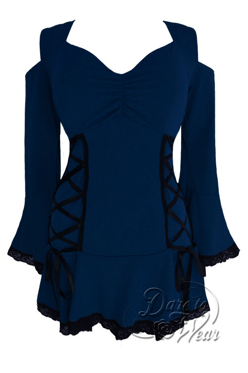 Jr.Plus Größe Gothic Temptation Sexy Lace Corset Top Midnight Blau 1X 2X 3X 4X 5X