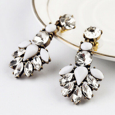 Rhinestone Fashion Earrings 2016 Drop Resin Crystal Studs New White Ear