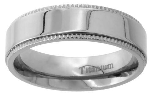 Titanium Ring Men Women Wedding Band Milgrain High Polished Flat Comfort Fit 6mm