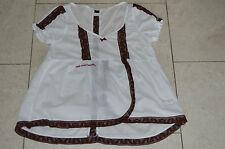 Odd Molly Womens S/S Blouse Tunic Shirt Top White / Brown Shirt Size 2 UK 12 14