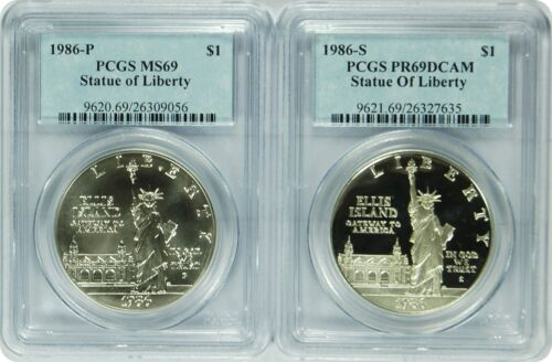 1986-S PCGS PR69DCAM//MS69 Statue of Liberty Dollar 2 set of coins