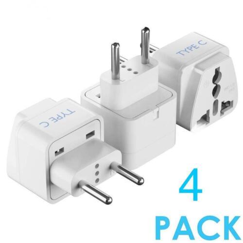 5 Core  World Travel Plug Adapter Type C Universal to European EU White 4 Pcs