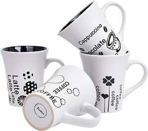 Bruntmor Porcelain Coffee Cups Mugs Set of 4 Novelty Mugs 14 Ounce Matte White