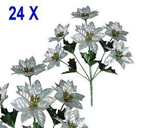Lot 24 bushes 144 silver poinsettias 14 christmas holiday silk image is loading lot 24 bushes 144 silver poinsettias 14 034 mightylinksfo