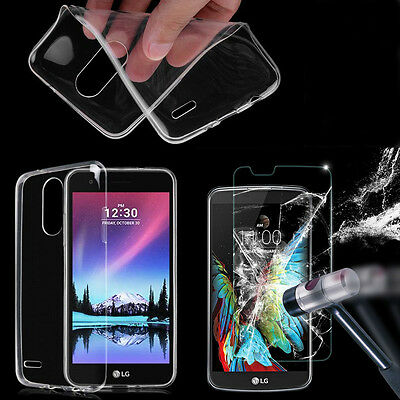Clear TPU Case Cover Skin + Tempered Glass Screen Protector Film For LG Phones