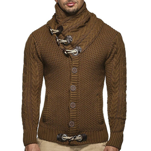 NEW Men/'s Casual Knitted Cardigan Cowl Neck Horn Button Single Breasted Sweater