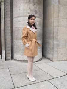 SûR Manteau Femmes Laine Beige Blanc 70er True Vintage 70 S Woman Felt Coat-afficher Le Titre D'origine