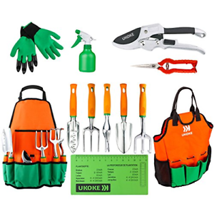 UKOKE Garden Tool Set, 12 Piece Aluminum Hand Tool Kit, Garden Canvas Apron with