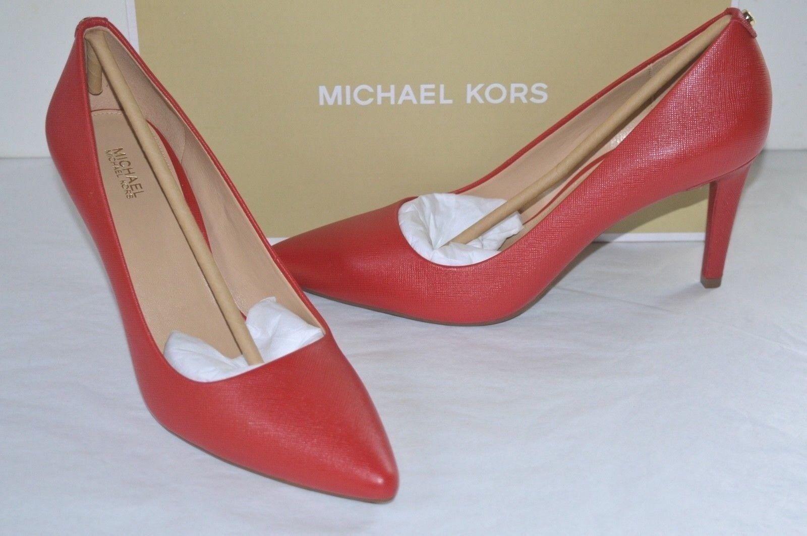 e432164442fe Michael Kors Dorothy Flex Pump Bright Red Leather Classic Heel Sz 8 ...