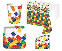 Building Blocks Lego Birthday Party Pack For 16 Guests 40pieces + Kids Party Set