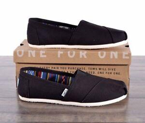 NEW Toms Classic Black Canvas Shoes Women's Size 8 MED Flats 10000869 Shoe NIB