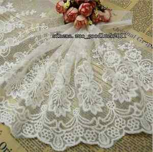 23-cm-1yard-Delicate-white-embroidered-flower-tulle-lace-trim-Sewing-DIY-FL132