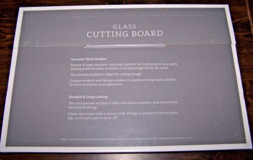 """GLASS CUTTING BOARD HOLLY JOLLY CHRISTMAS! NEW! 12/"""" x 8/"""" Multiple Uses"""