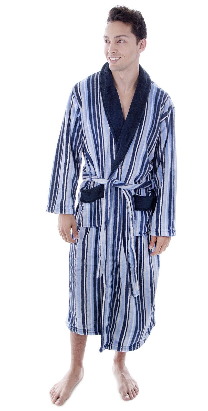 Men's Long Sleepwear Loose Stripe Coral Fleece Collar Shawl Bathrobe Spa Robe