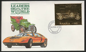 Zambia (377) 1987 Classic Cars - BENTLEY in 22k gold foilon First day Cover