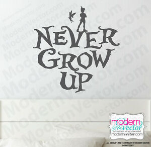 Peter Pan Quote Vinyl Wall Decal Nursery Decor Disney Tinkerbell