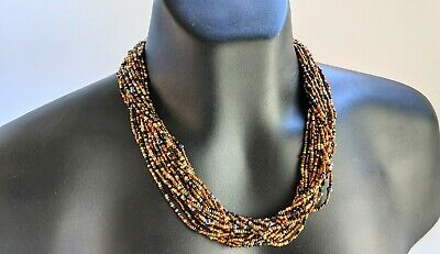 80/'s Classic Joan Rivers pewter and black glass bead necklace